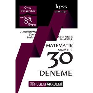 Pegem Yayınları 2018 KPSS Matematik - Geometri 30 Deneme